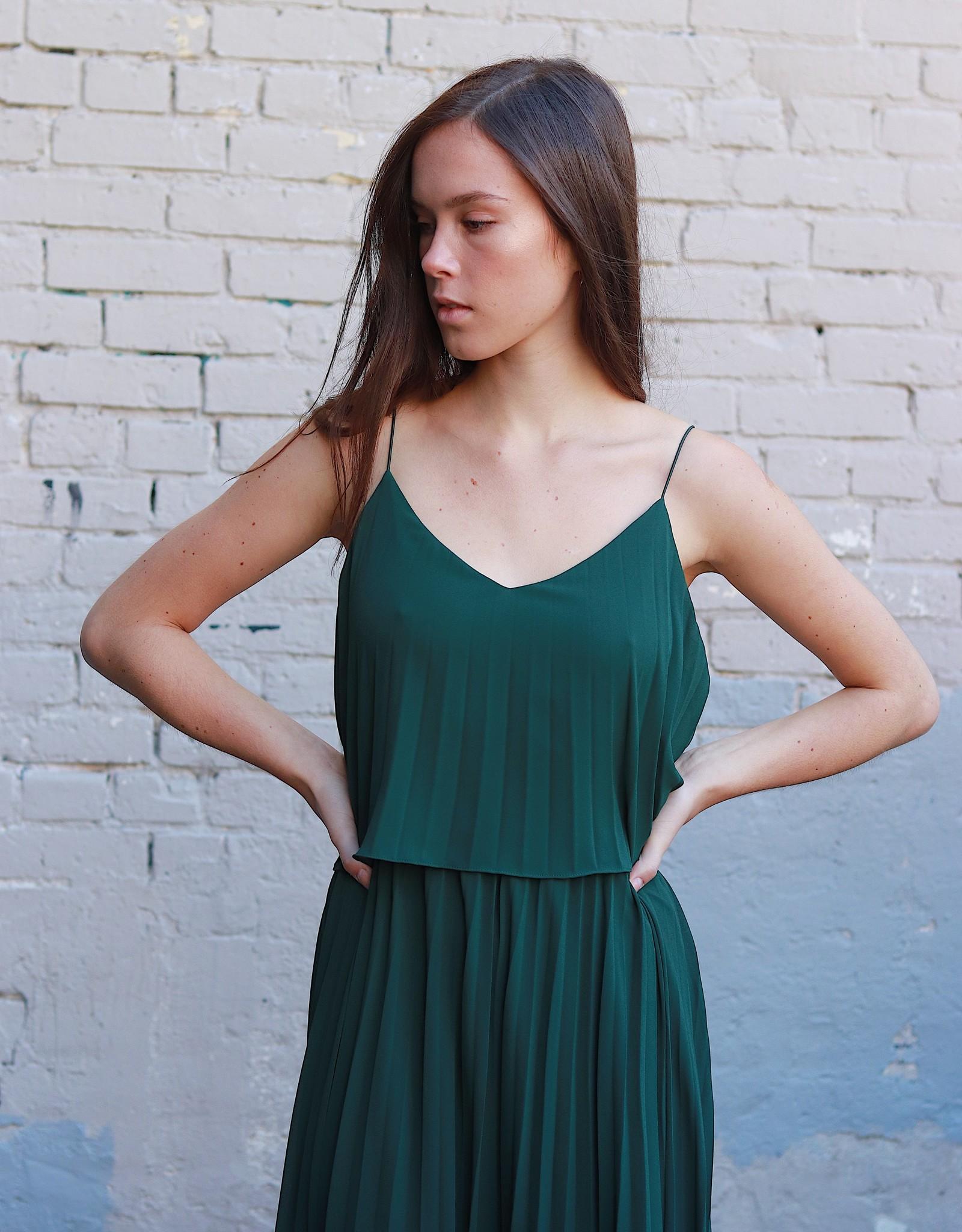HUSH + SHOUT Pleated woven maxi dress