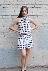 HUSH + SHOUT Mock neck geometric print dress