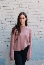 HUSH + SHOUT L/S round neck ribbed knit sweater