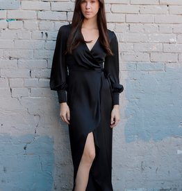 HUSH + SHOUT Long sleeved satin wrap dress