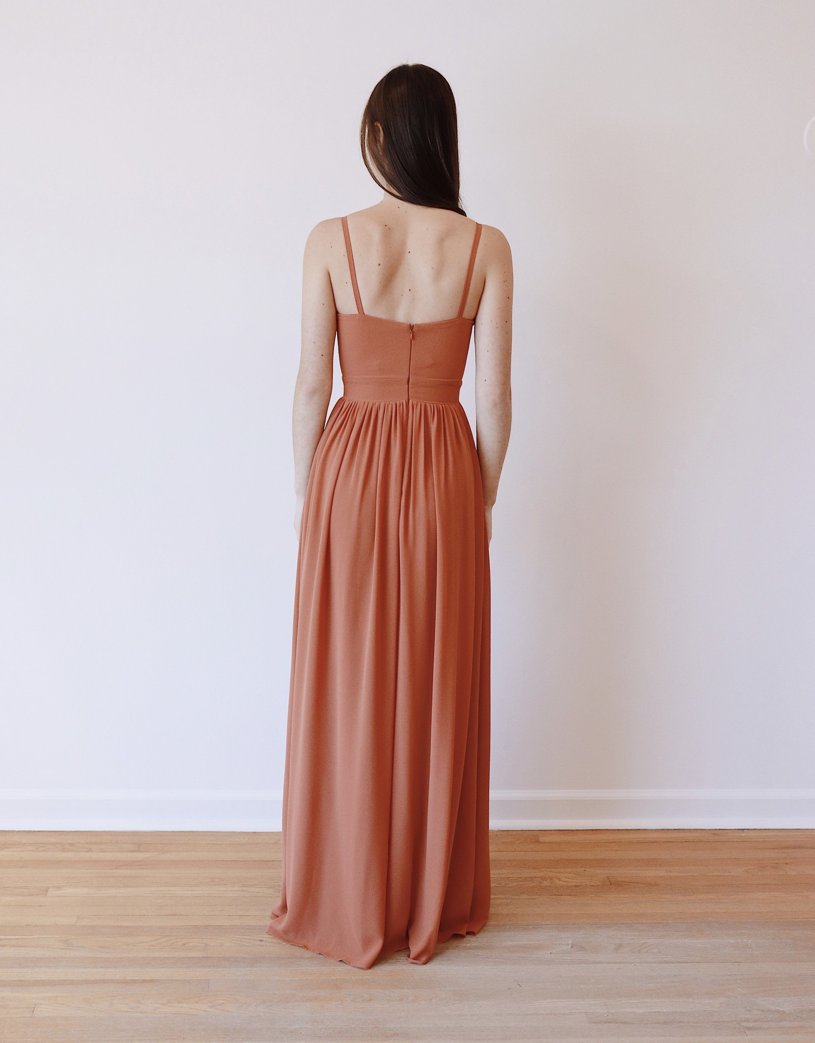 HUSH COLLECTION Crepe chiffon A line maxi dress