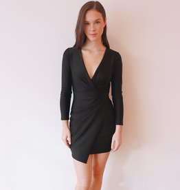 HUSH + SHOUT L/S silky bodycon dress