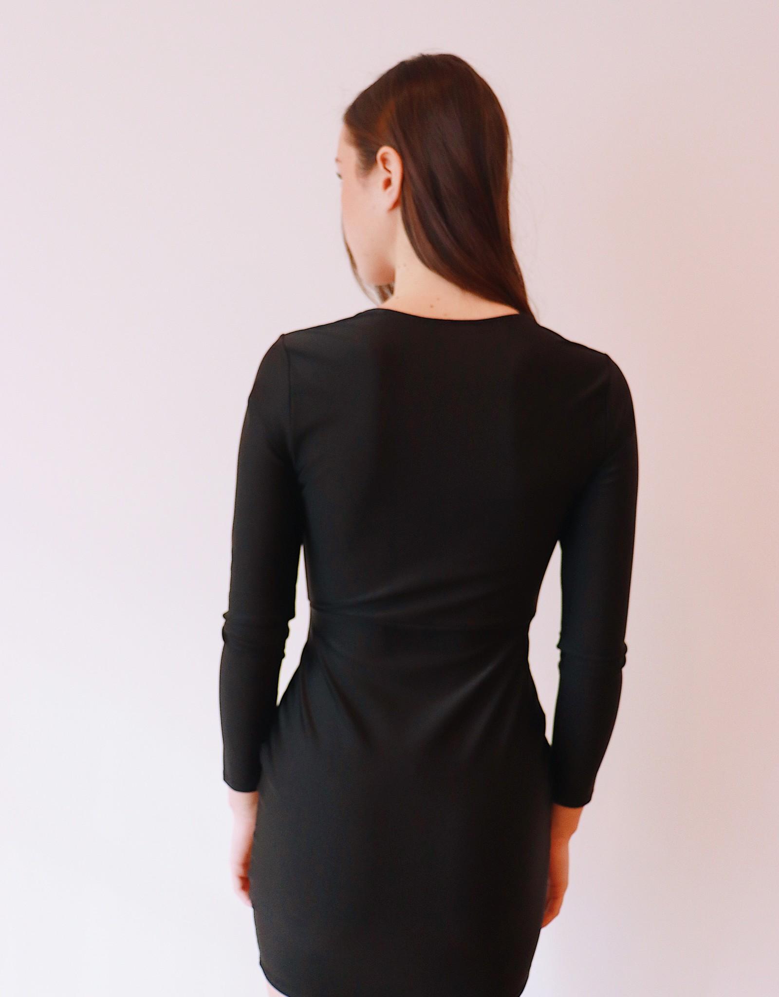 HUSH + SHOUT L/S silky bodycon dress