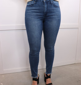 HUSH High waisted skinny cat scratch fray denim