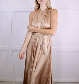 HUSH Satin halter backless maxi