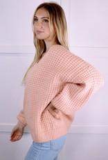 HUSH Waffle Texture Fuzzy V-neck Sweater