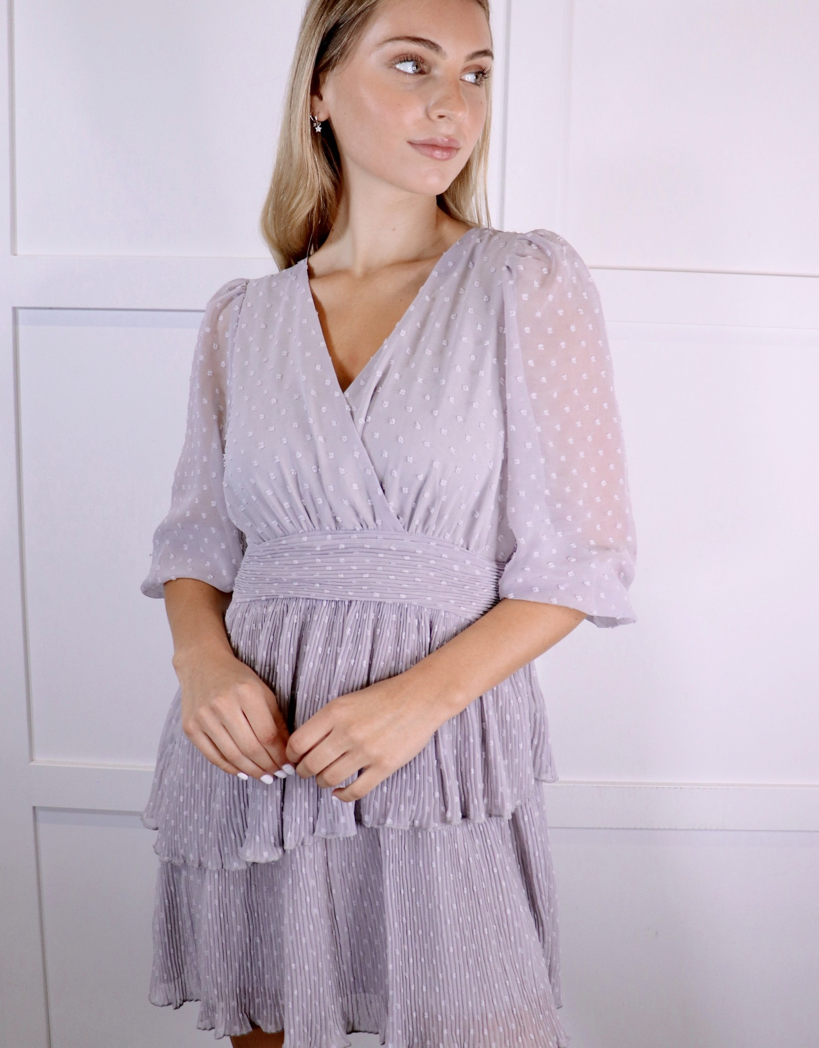 HUSH 3/4 Sleeve chiffon dress
