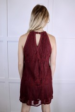 HUSH Embroidered halter lace dress