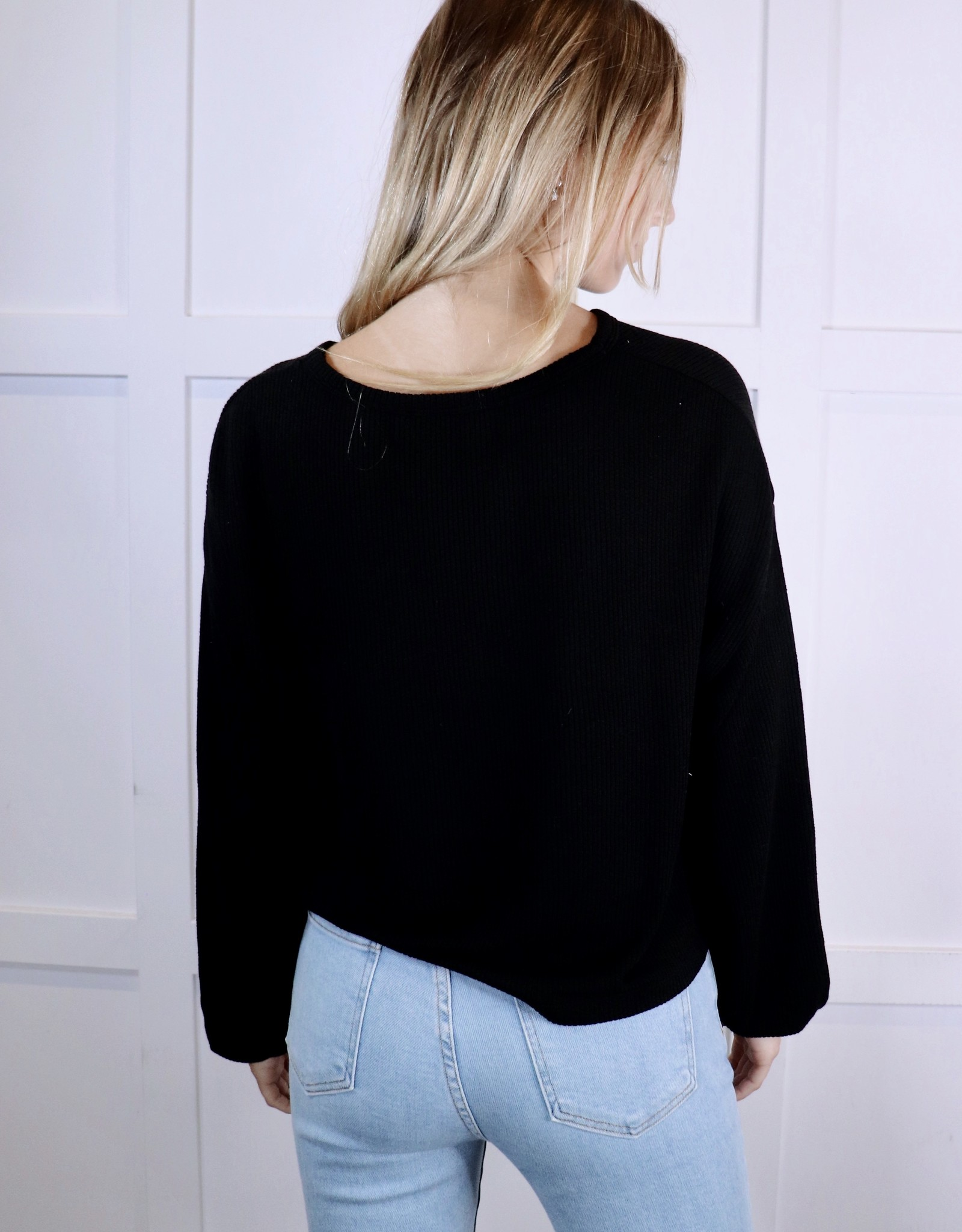 HUSH Waffle knit drop shoulder top