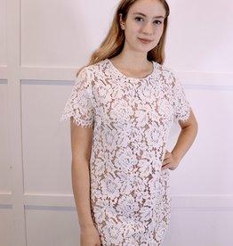 HUSH White lace short sleeve dress