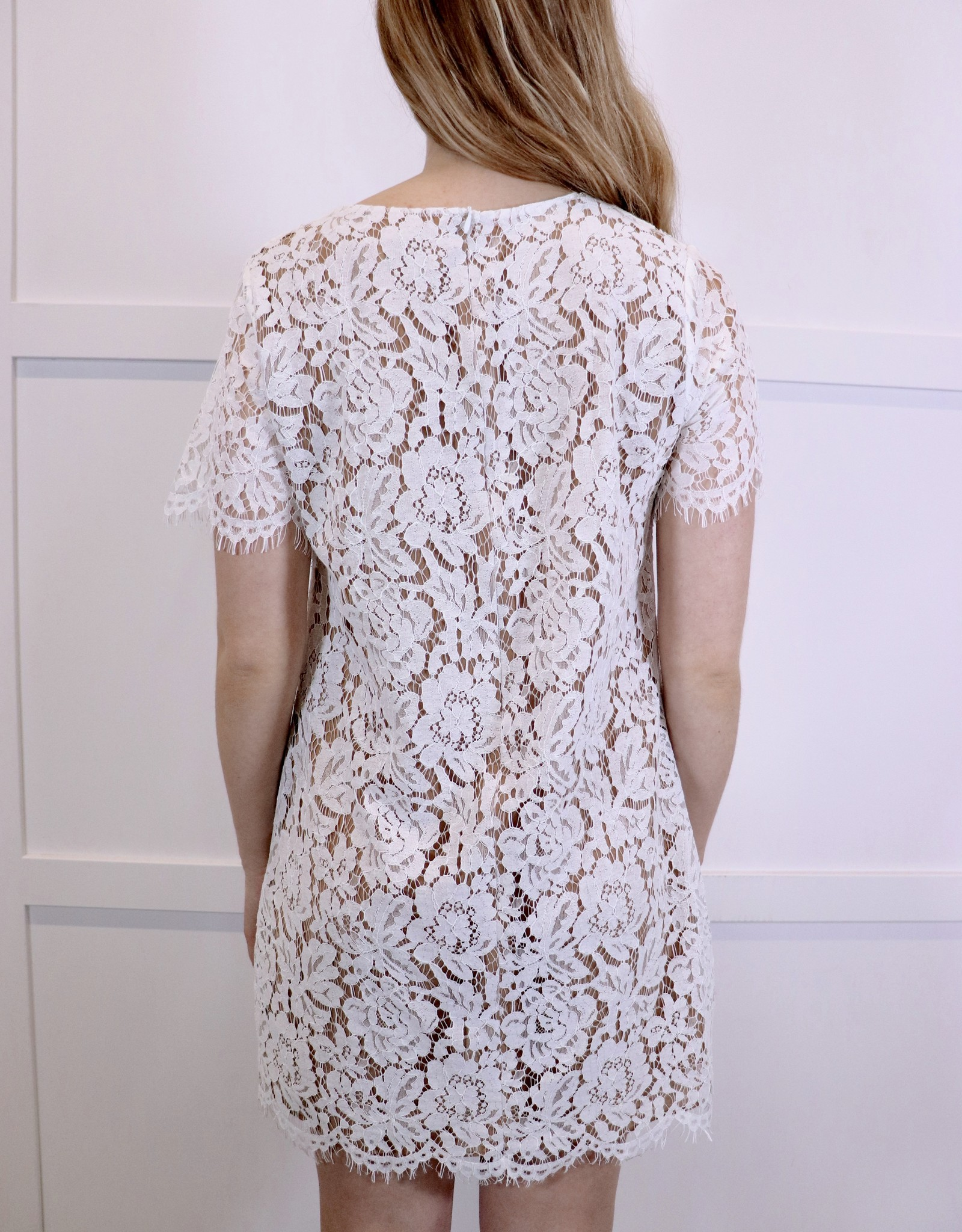 HUSH White lace short sleeve dress