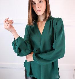 HUSH Long slv pleated neck blouse