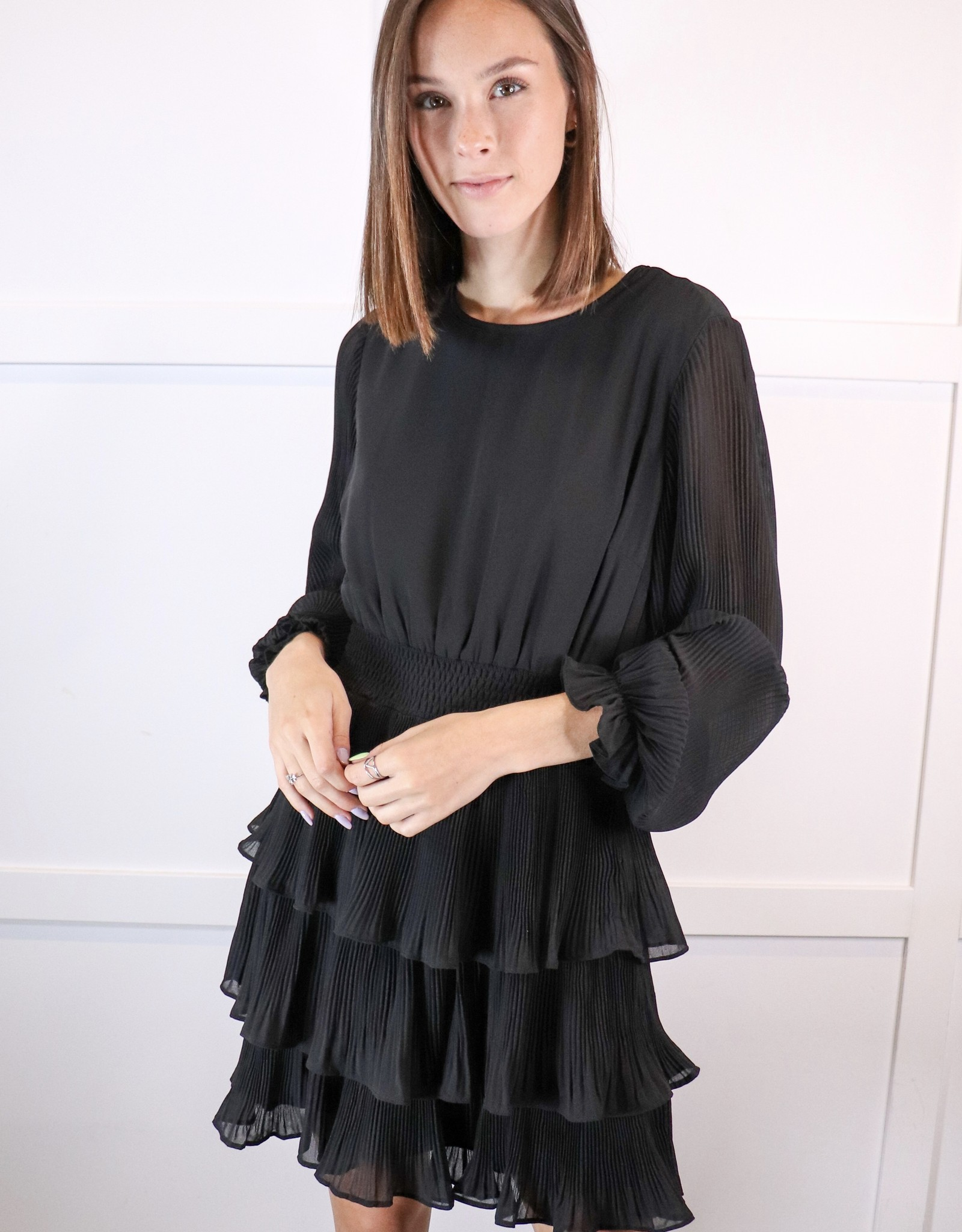 HUSH Dress with pleated layered skirt