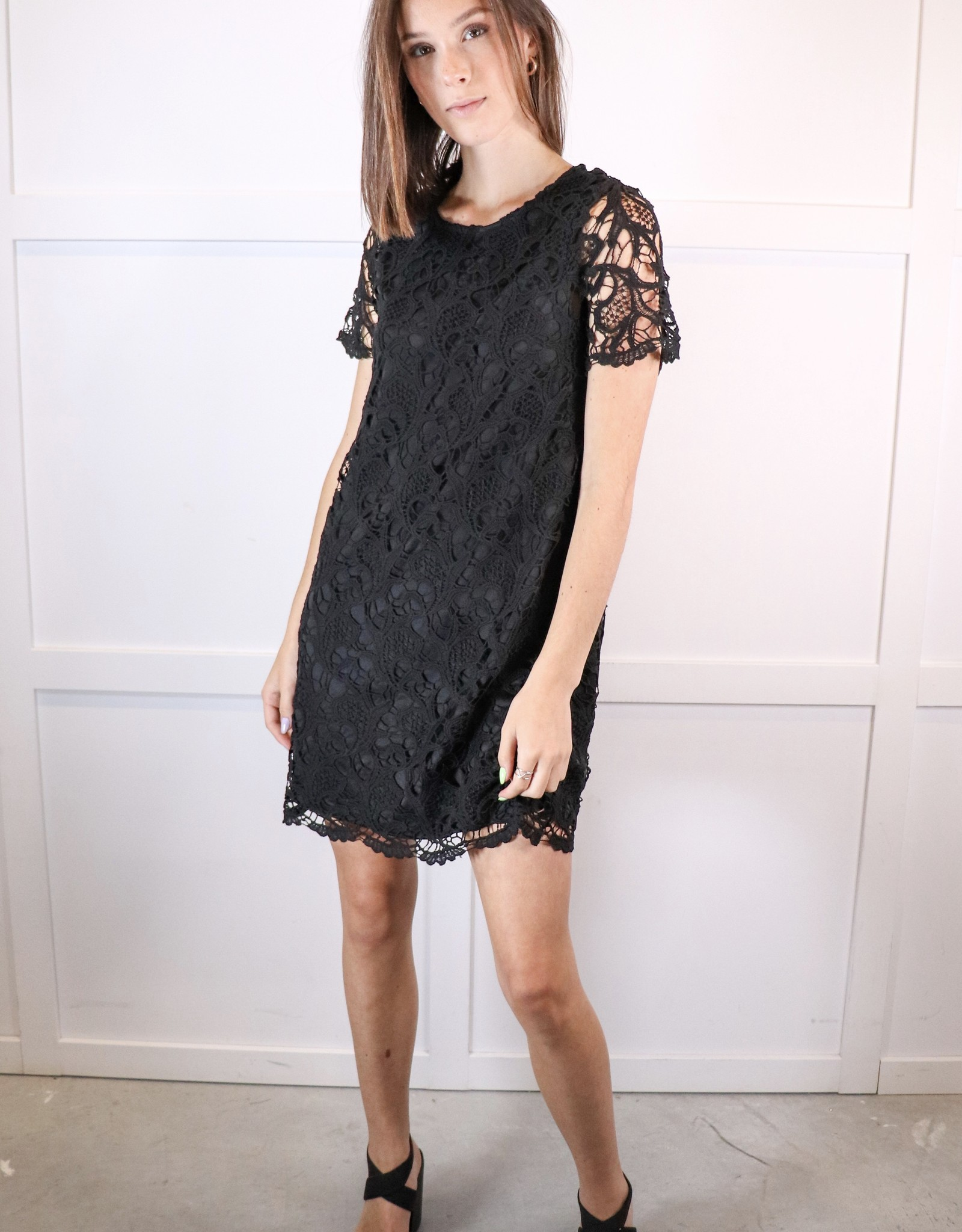 HUSH Crochet lace shift dress
