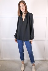 HUSH Long slv pleated neck blouse