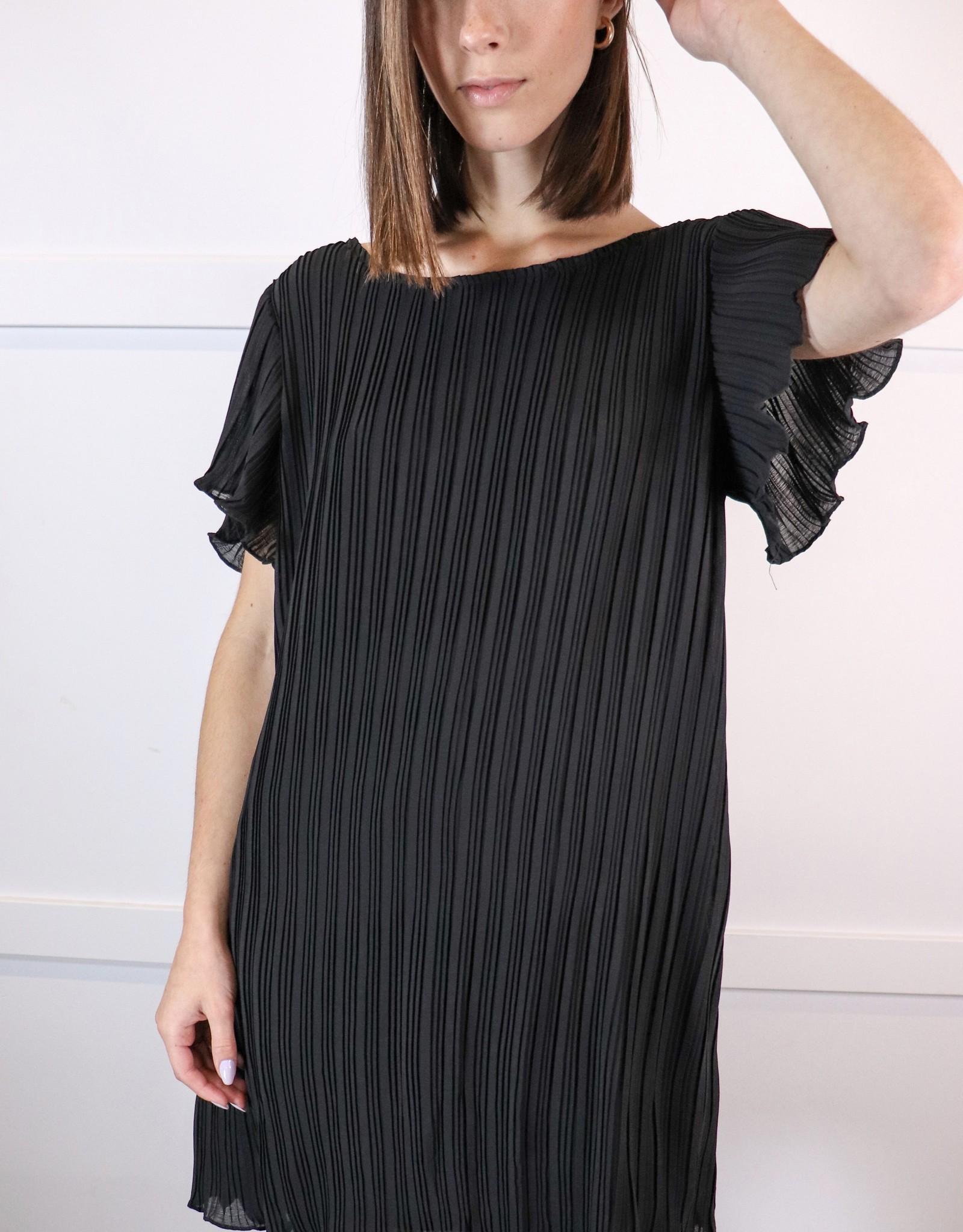 HUSH Flutter sleeve pleated dress