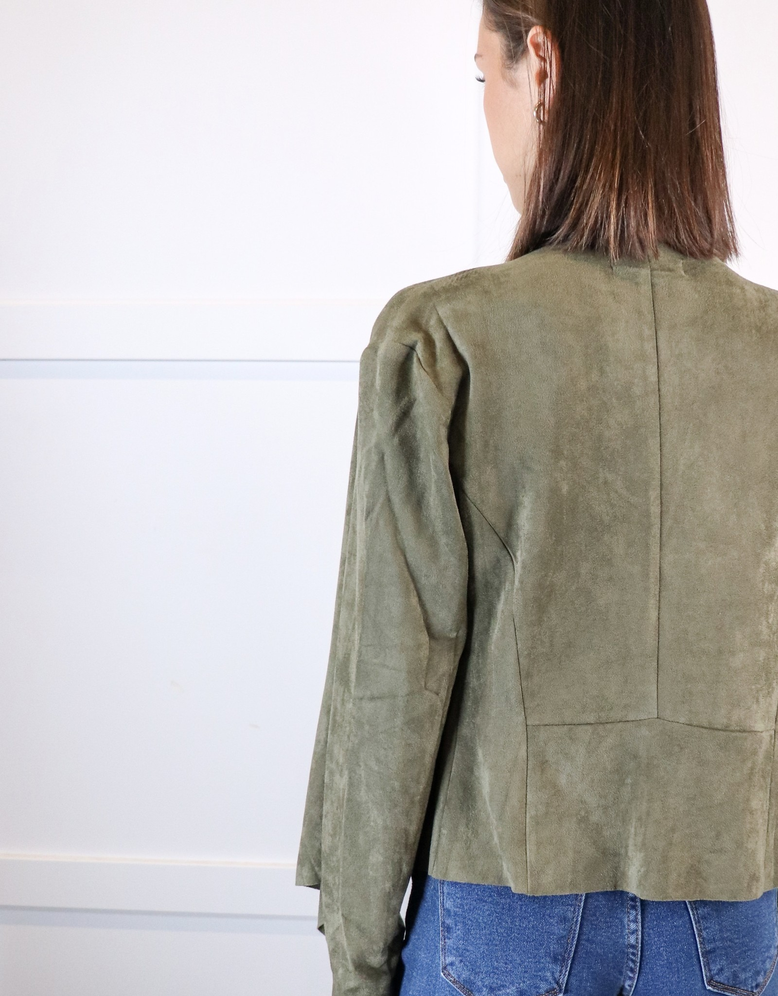 HUSH Faux suede open front blazer