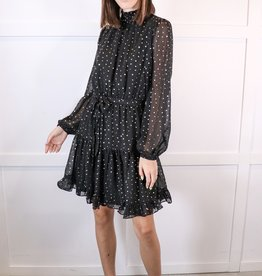 HUSH Lurex dot ruffled skirt dress