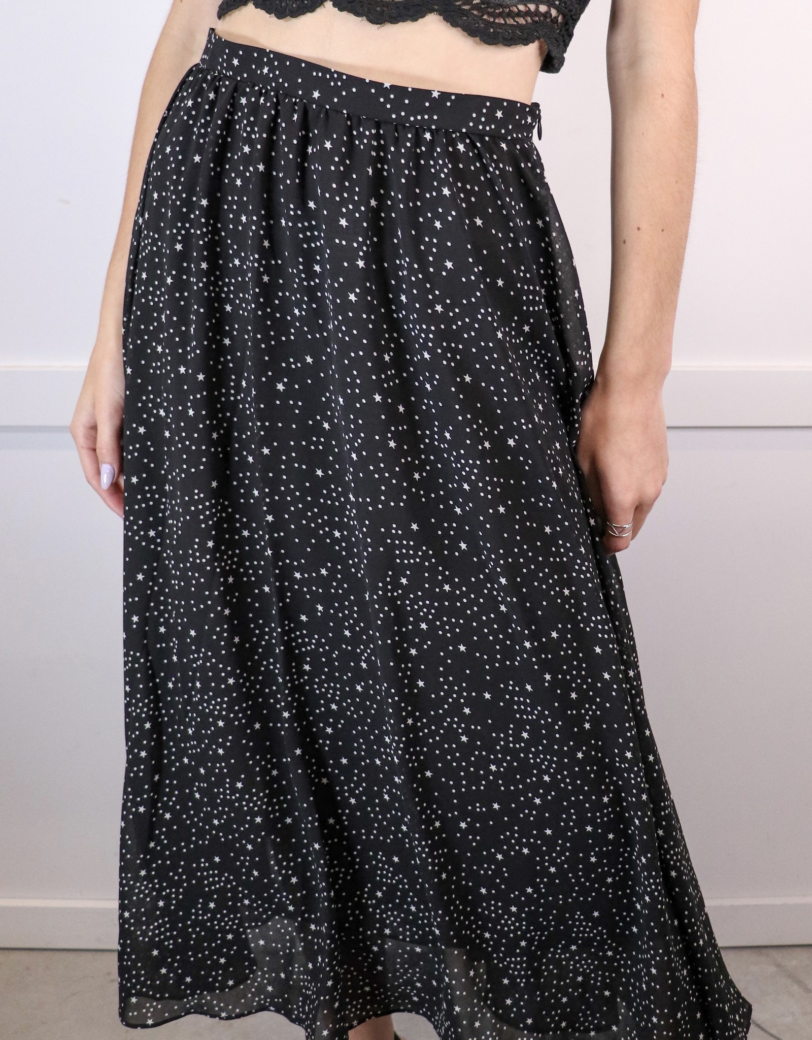 HUSH Star print tea length skirt