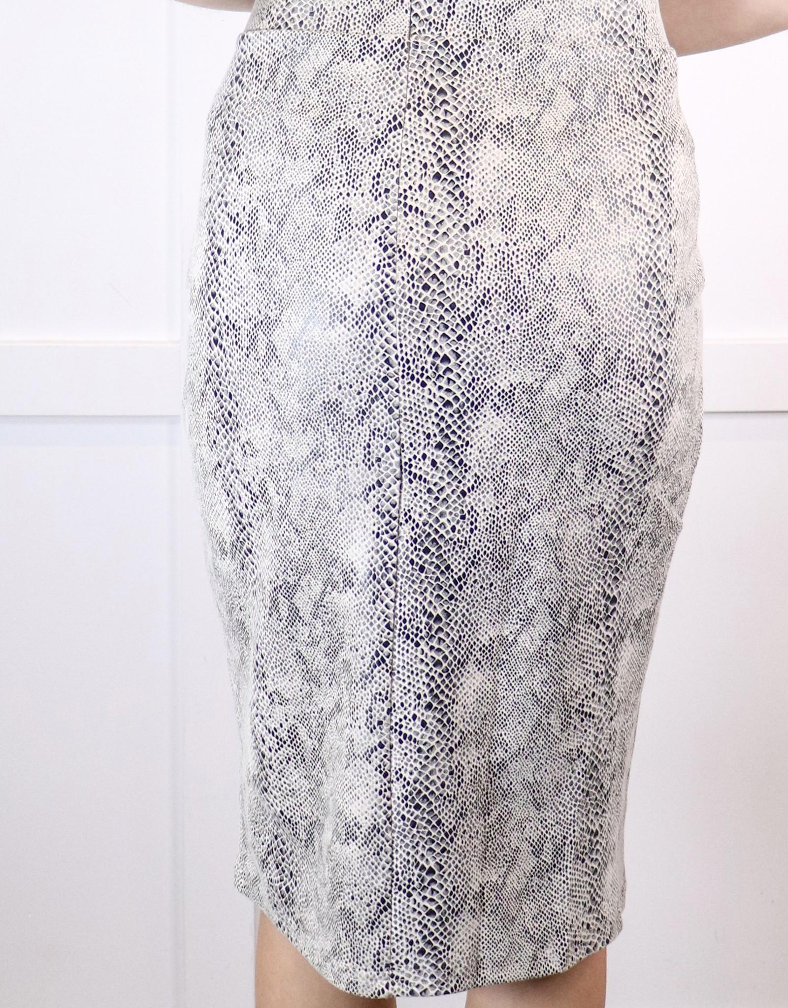 HUSH Printed faux suede midi skirt