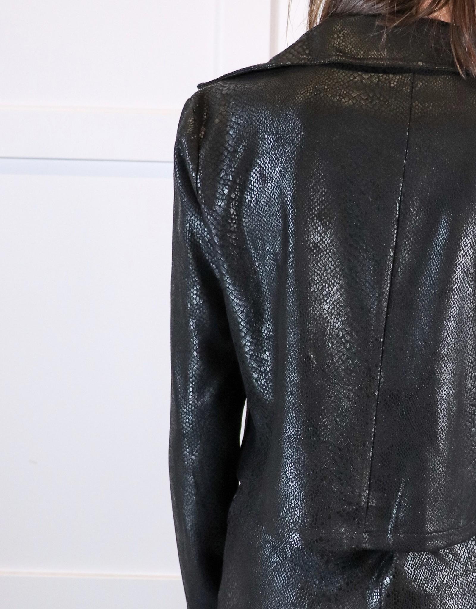 HUSH Printed faux suede biker jacket
