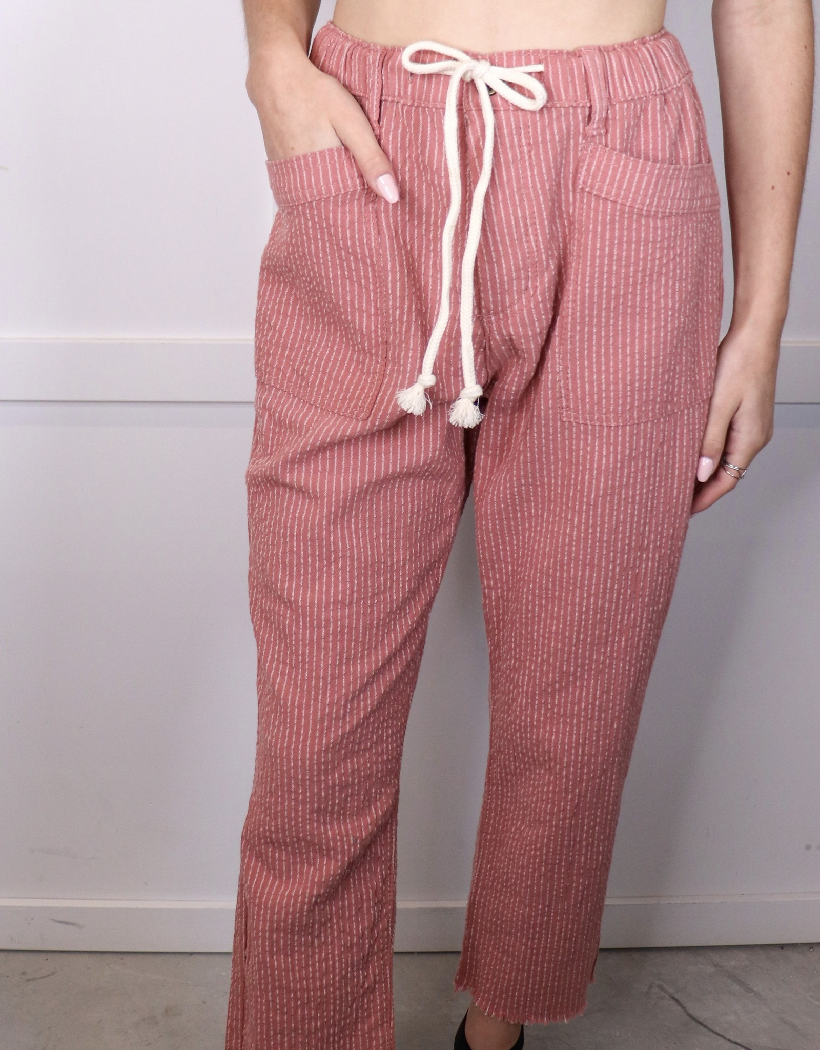 HUSH Pinstripe frayed hem pants