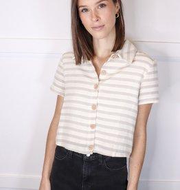 HUSH Striped button down collard shirt