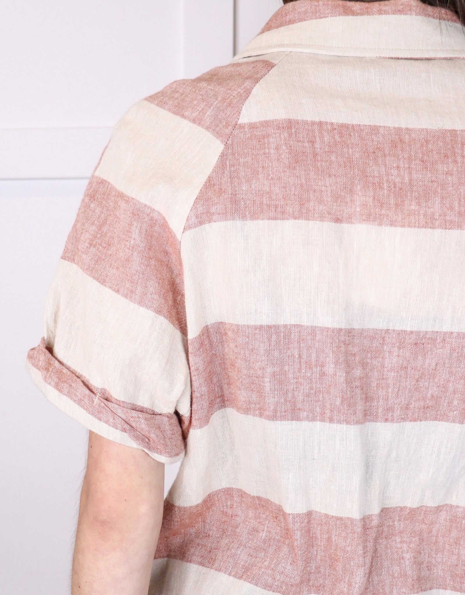 HUSH Striped button front raw hem top