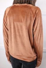HUSH Velour crew neck sweater