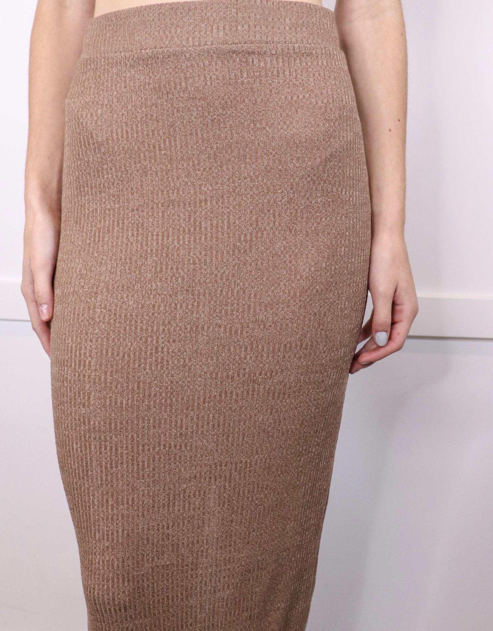 HUSH Rib knit midi skirt