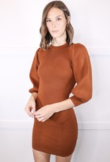 HUSH Rib knit balloon slv dress