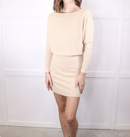 HUSH Drop shoulder rib knit dress