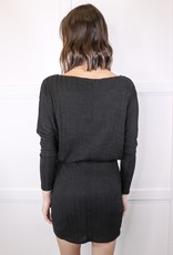 HUSH Drop shoulder rib knit dress
