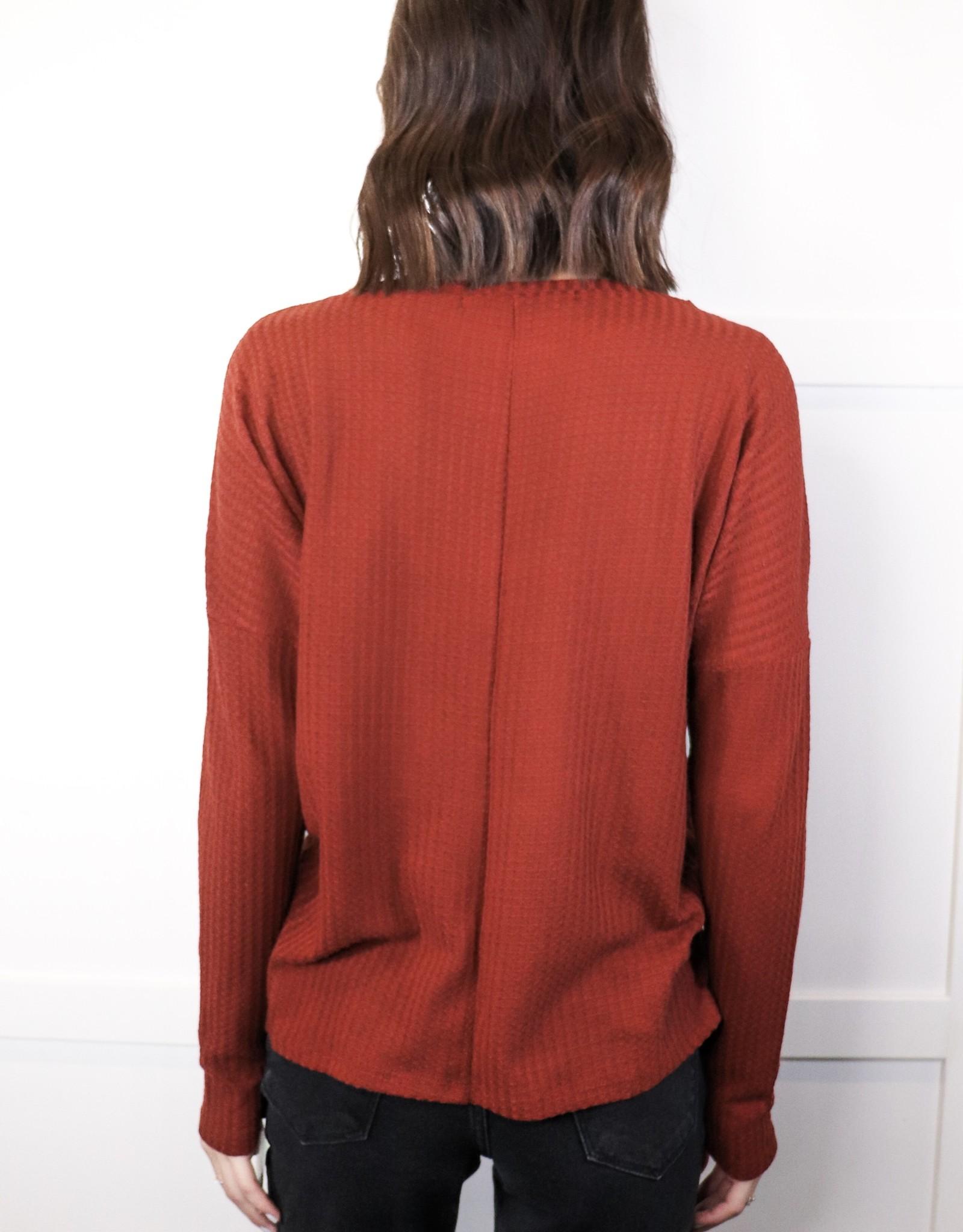 HUSH Long slv waffle knit top