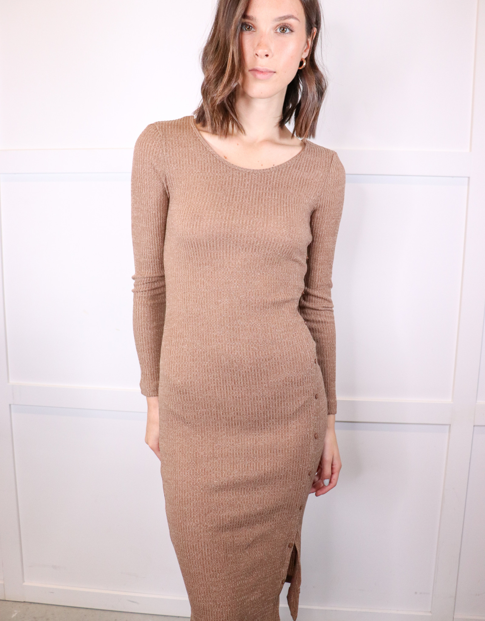 HUSH Long slv rib knit midi dress