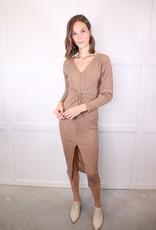 HUSH Twist front rib knit dress