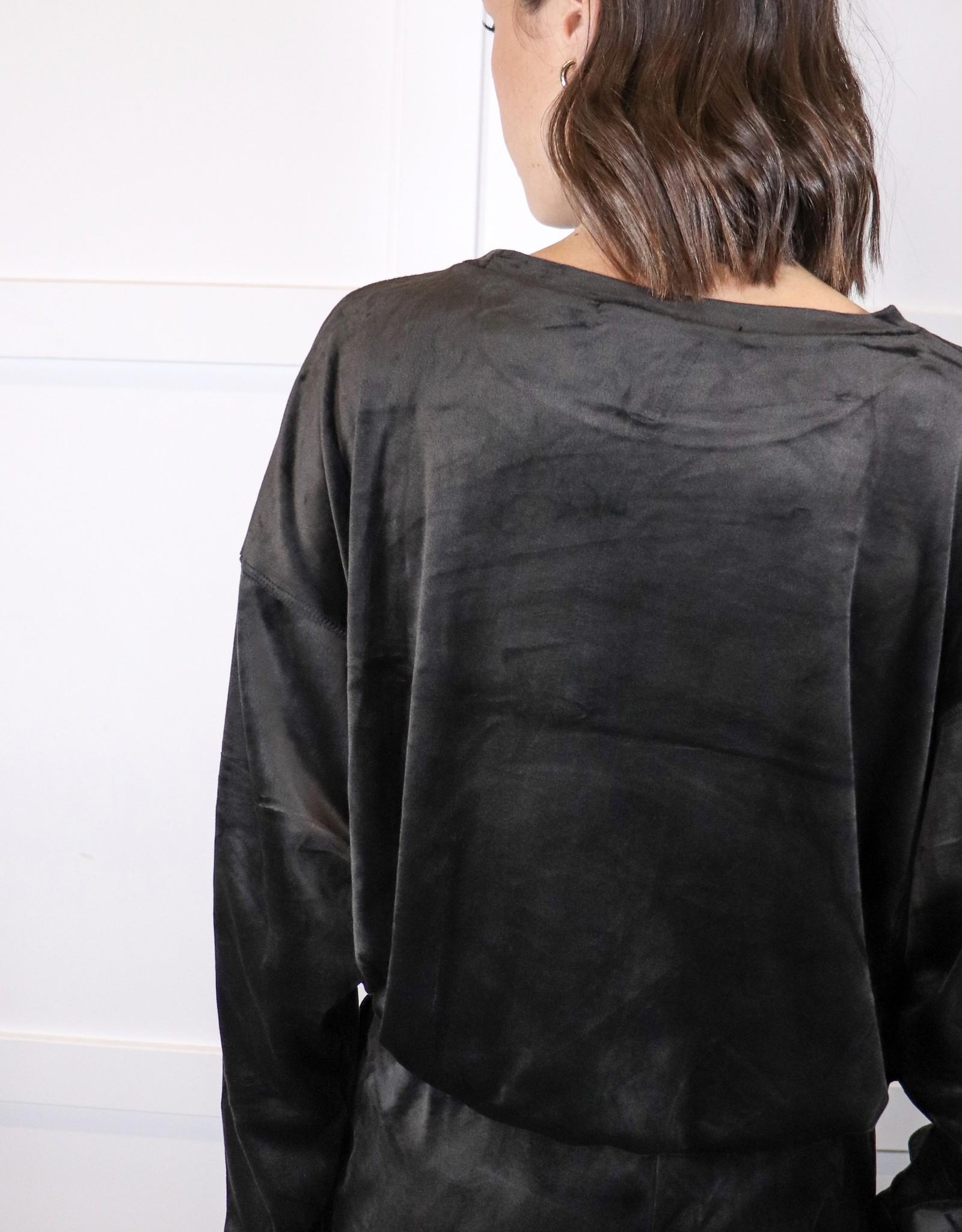 HUSH Drawstring btm velour sweater