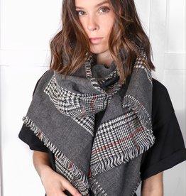 HUSH Reversible tartan plaid blanket scarf