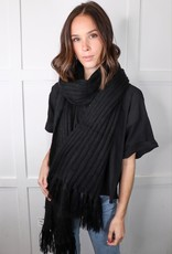 HUSH Oversized ribbed tassel scarf
