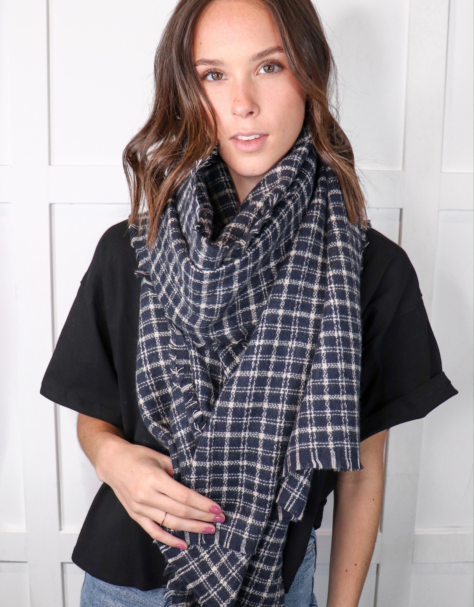 HUSH Tattersall plaid blanket scarf