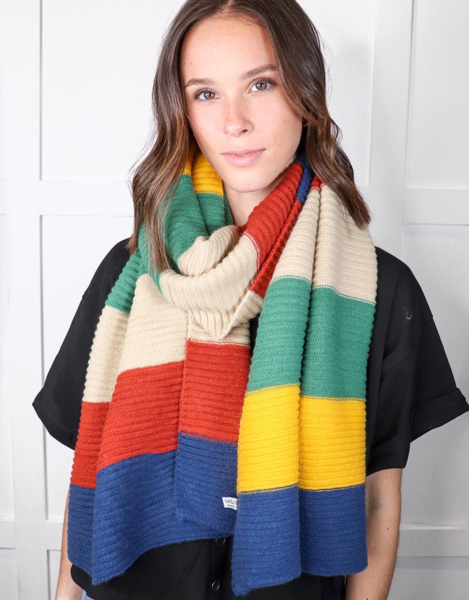 HUSH Colour block rib knit scarf