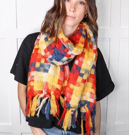 HUSH Patchwork woven tassel scarf