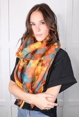 HUSH Patchwork woven tassel scarf