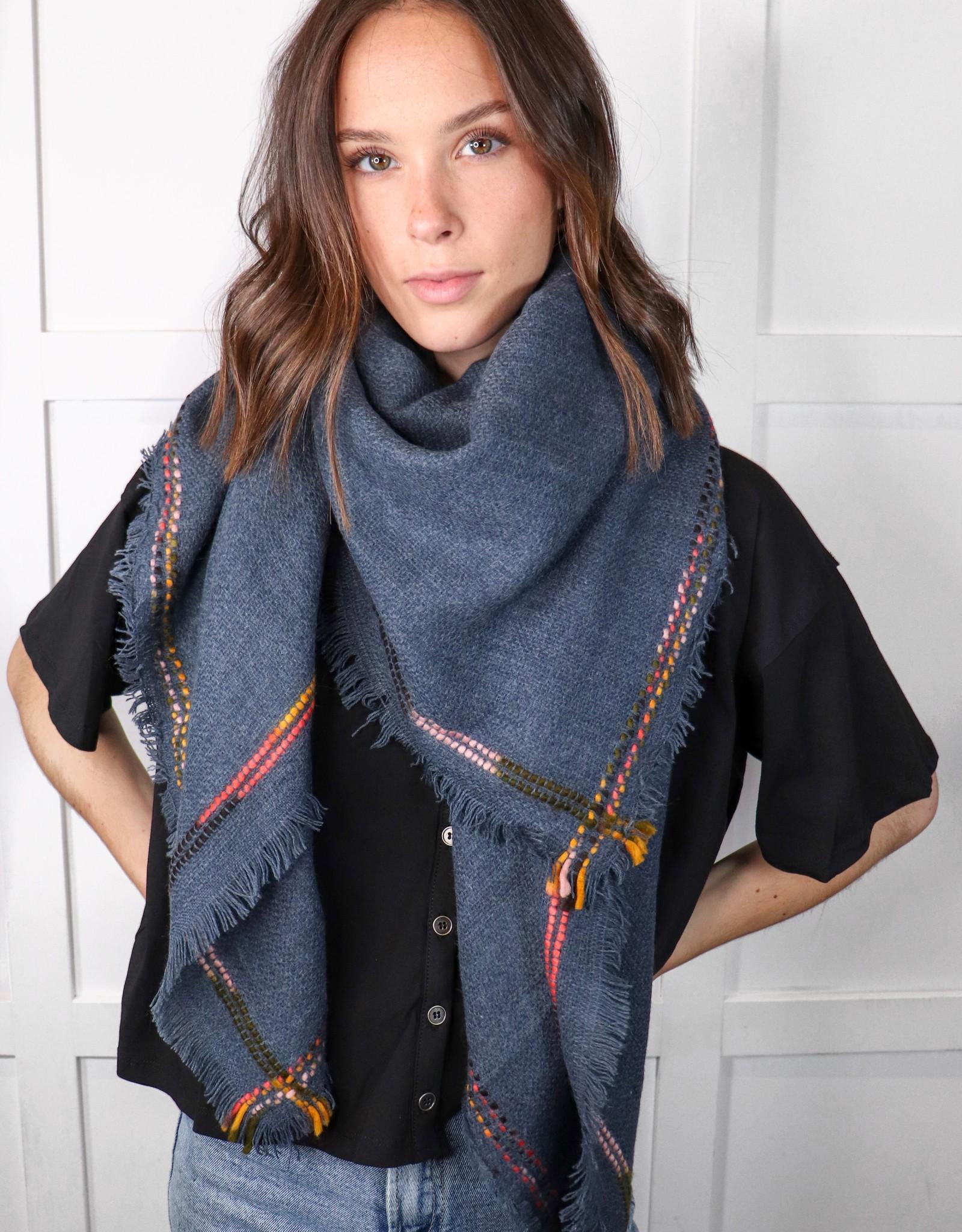 HUSH Frayed edge blanket scarf