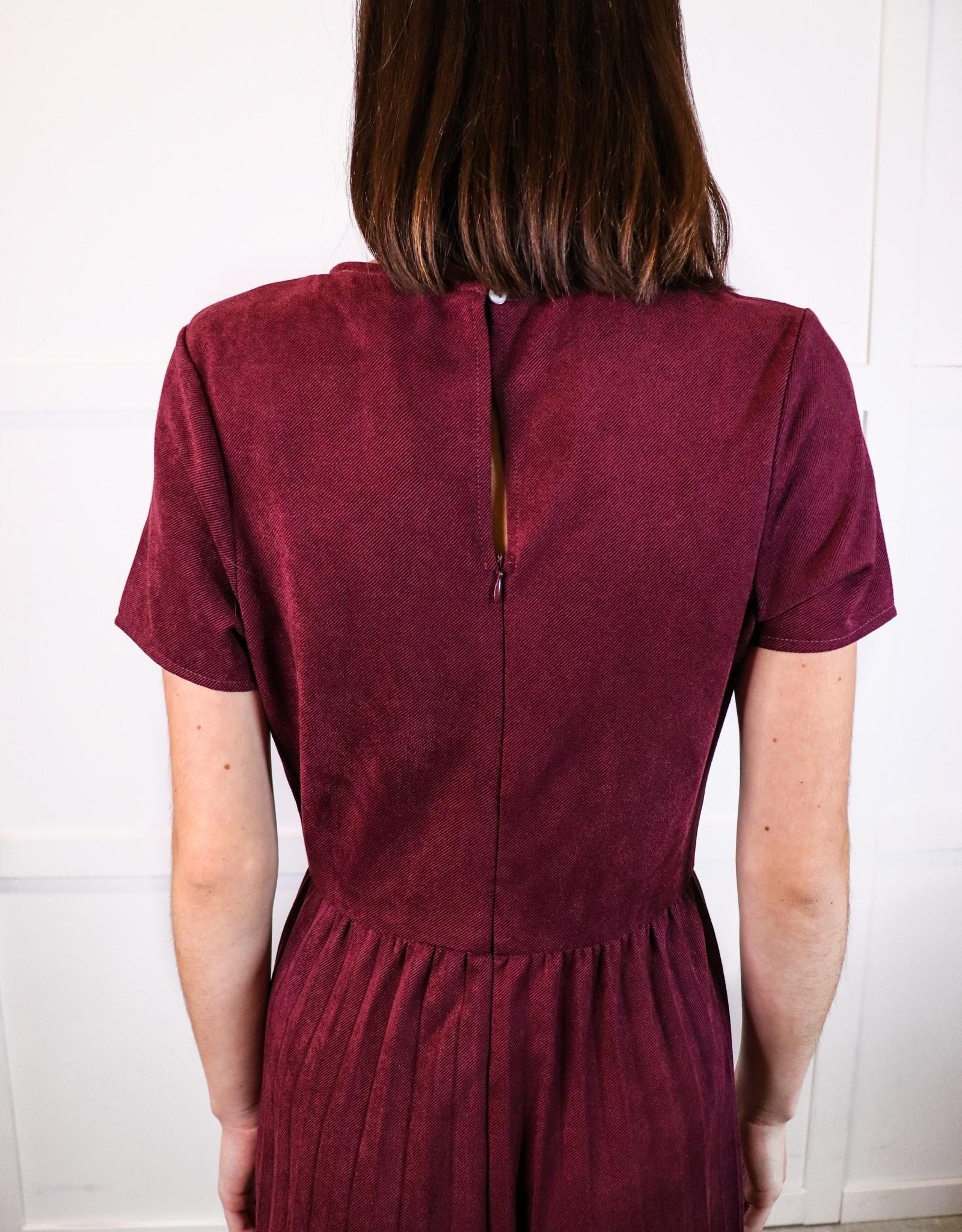 HUSH Faux suede midi dress w/ pleated skirt