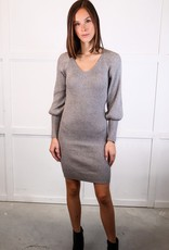 HUSH V neck puff slv fitted sweater dress