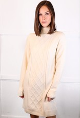 HUSH Turtleneck cable knit maxi sweater