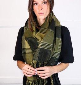 HUSH Oversized flannel tassel scarf