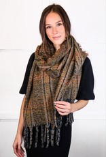 HUSH Soft mohair plaid tassel scarf
