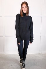 HUSH Cable stripe mock neck